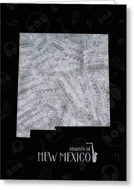 New Mexico Map Music Notes 2 Greeting Card