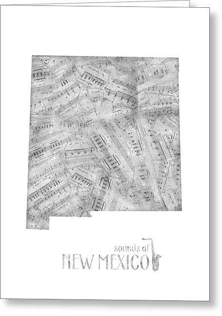 New Mexico Map Music Notes Greeting Card