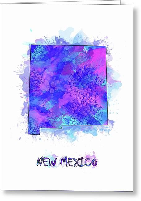 New Mexico Map Watercolor 2 Greeting Card