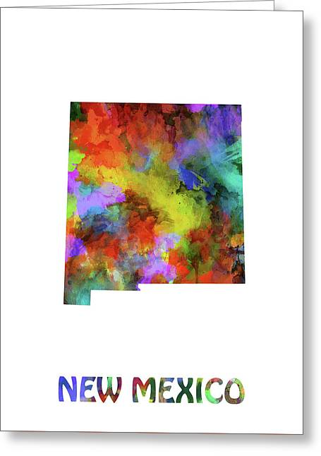 New Mexico Map Watercolor Greeting Card