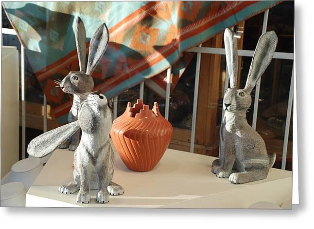 New Mexico Rabbits Greeting Card by Rob Hans
