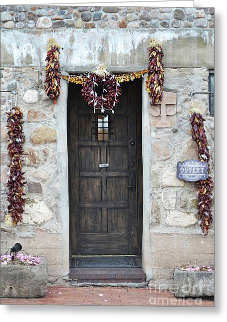 Greeting Card featuring the photograph New Mexico Red Chili Ristras Door by Andrea Hazel Ihlefeld