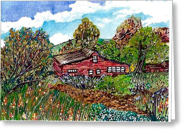 New Mexico Red House  Greeting Card by M E Wood
