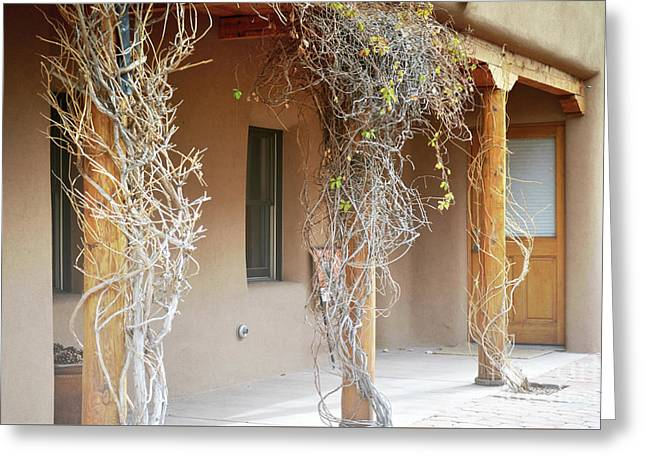 Greeting Card featuring the photograph New Mexico Rustic Country Porch by Andrea Hazel Ihlefeld