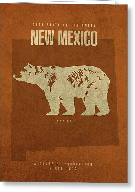 New Mexico State Facts Minimalist Movie Poster Art Greeting Card