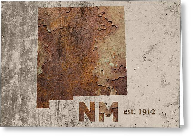 New Mexico State Map Industrial Rusted Metal On Cement Wall With Founding Date Series 047 Greeting Card by Design Turnpike