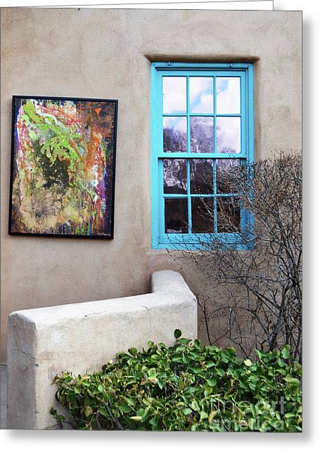 Greeting Card featuring the photograph New Mexico Turquoise Window Landscape by Andrea Hazel Ihlefeld