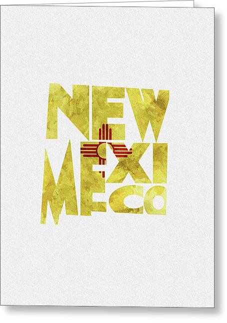 New Mexico Typographic Map Flag Greeting Card