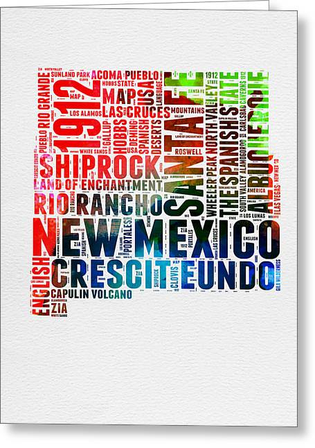 New Mexico Watercolor Word Map Greeting Card by Naxart Studio