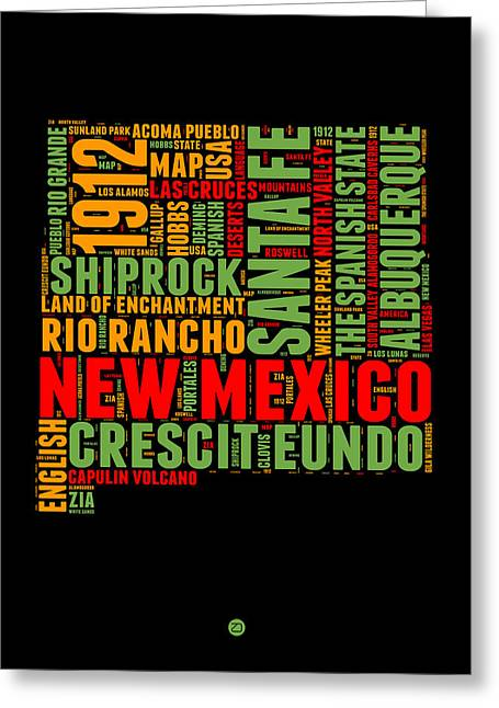 New Mexico Word Cloud Map 1 Greeting Card