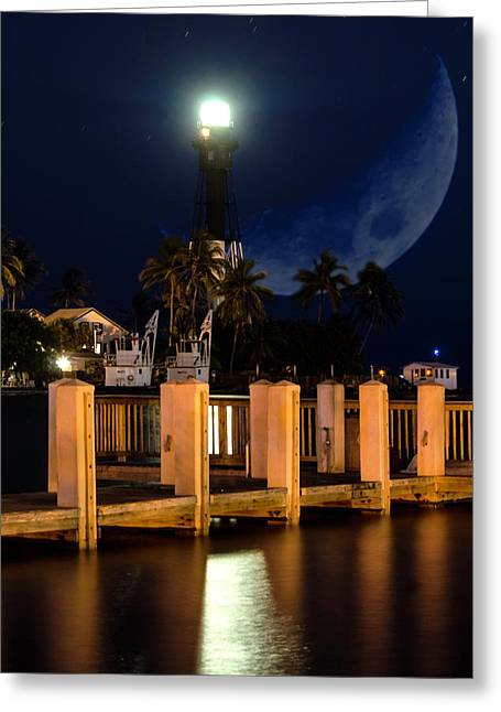 New Moon At Hillsboro Inlet Lighthouse Greeting Card