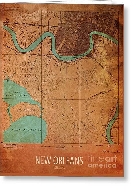 New Orleans 1891 Map Greeting Card by Pablo Franchi