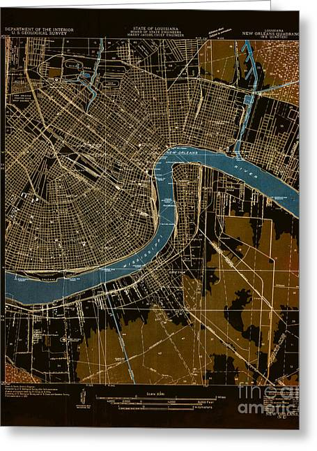 New Orleans 1932 - Historical Map Greeting Card