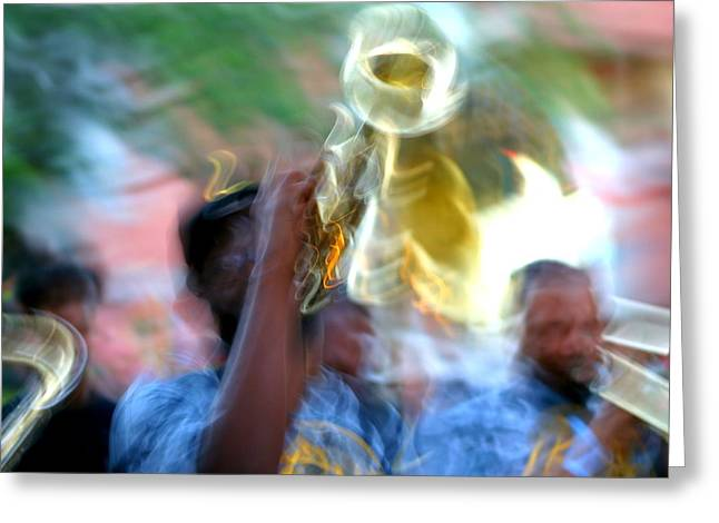 New Orleans Abstract Street Jazz Performance Greeting Card