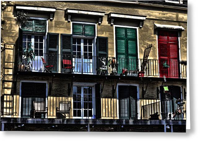 French Doors Photographs Greeting Cards - New Orleans Balcony Greeting Card by Cecil Fuselier