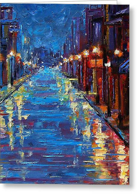 Cityscape Greeting Cards - New Orleans Bourbon Street Greeting Card by Debra Hurd