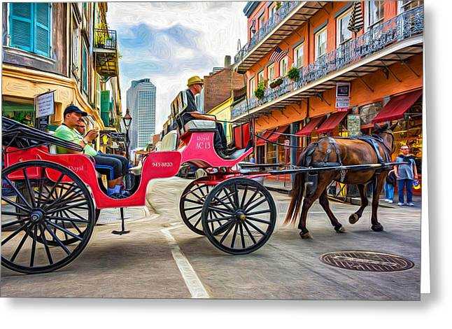 New Orleans - Carriage Ride 2 - Paint Greeting Card by Steve Harrington