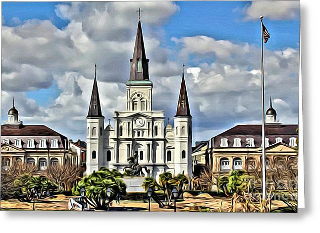 New Orleans Church Greeting Card by Carey Chen