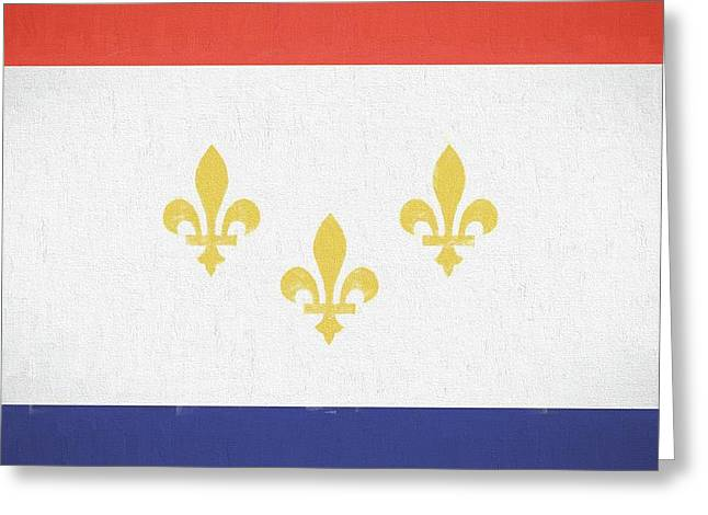 Greeting Card featuring the digital art New Orleans City Flag by JC Findley