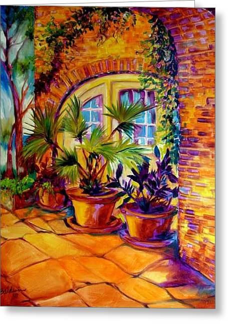 New Orleans Courtyard By M Baldwin Greeting Card by Marcia Baldwin