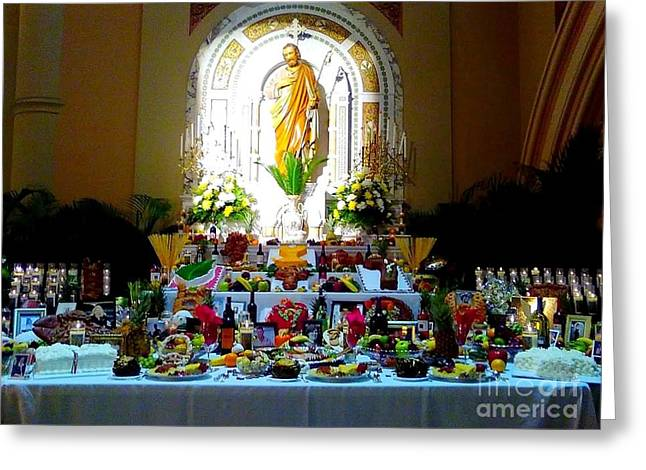 New Orleans Feast Day Of St. Joseph Alter Greeting Card by Michael Hoard
