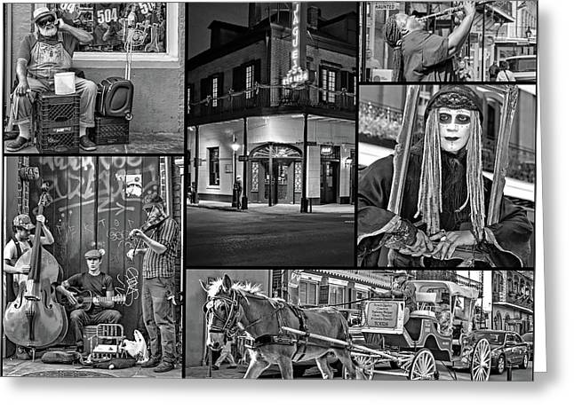New Orleans French Quarter Collage 2 Bw Greeting Card by Steve Harrington