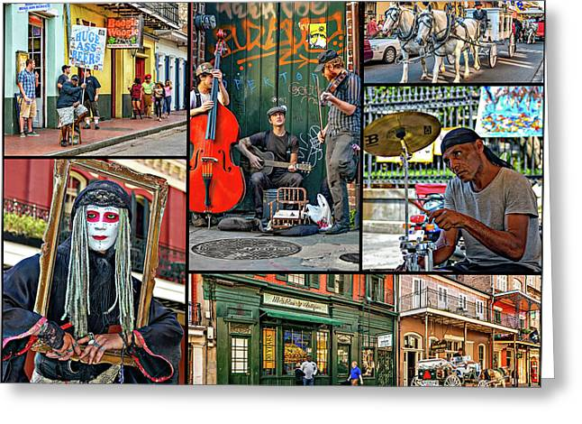 New Orleans French Quarter Collage Greeting Card by Steve Harrington