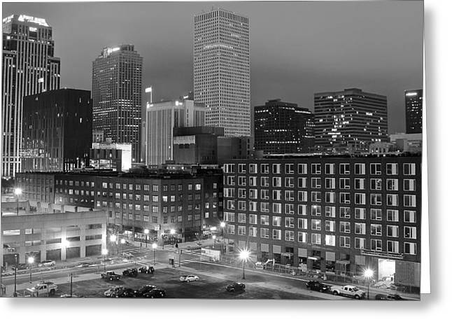 New Orleans In Black And Night Greeting Card by Frozen in Time Fine Art Photography