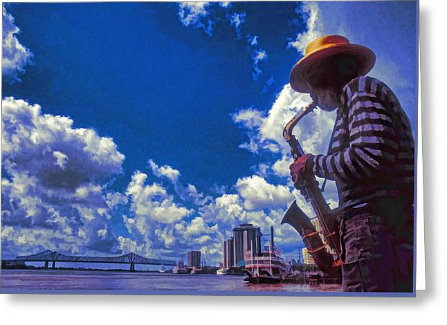 New Orleans Jazzman Greeting Card by Dennis Cox