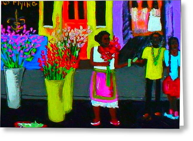 Greeting Card featuring the painting New Orleans Lady Selling Flowers by Angela Annas