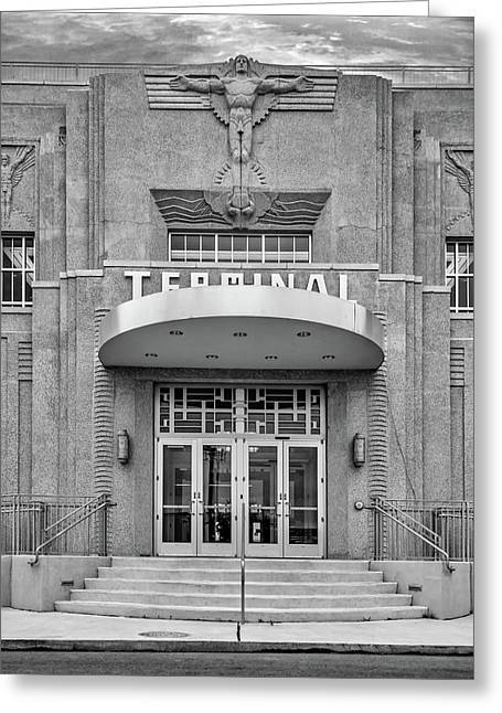 New Orleans Lakefront Airport Bw Greeting Card