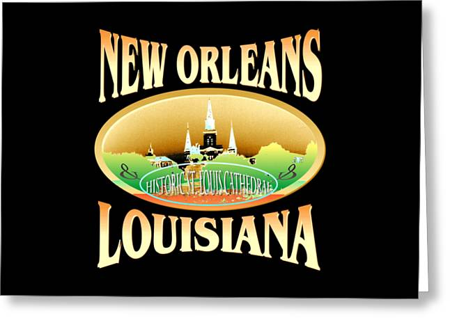 New Orleans Louisiana Tshirt Design Greeting Card by Art America Online Gallery