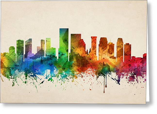 New Orleans Louisiana Skyline 05 Greeting Card