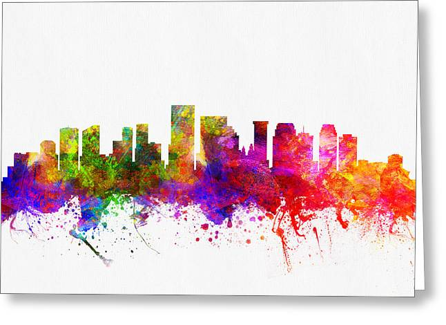 New Orleans Louisiana Skyline Color02 Greeting Card by Aged Pixel