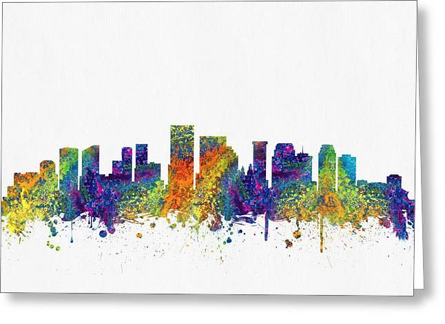 New Orleans Louisiana Skyline Color03 Greeting Card by Aged Pixel