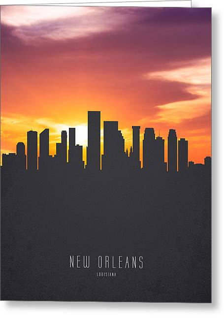 New Orleans Louisiana Sunset Skyline 01 Greeting Card