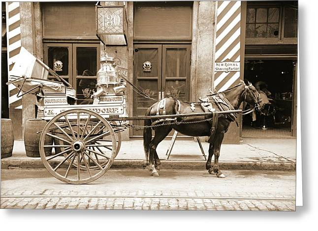 New Orleans Milk Cart In Louisiana 1905 Greeting Card by Padre Art