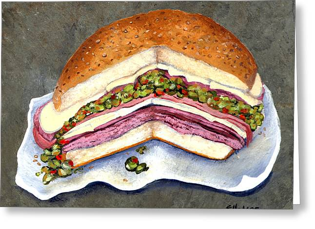 New Orleans Muffaletta Greeting Card by Elaine Hodges