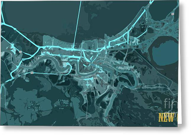New Orleans Old Map Abstract Blue Greeting Card by Pablo Franchi