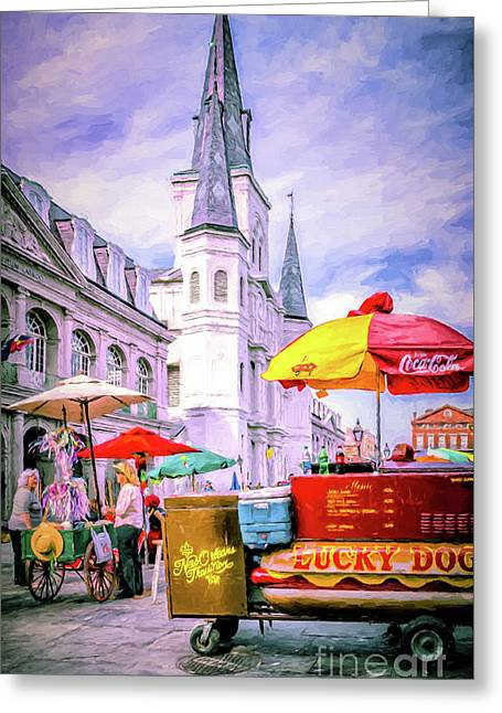 New Orleans-painted-merry Christmas Greeting Card by Kathleen K Parker