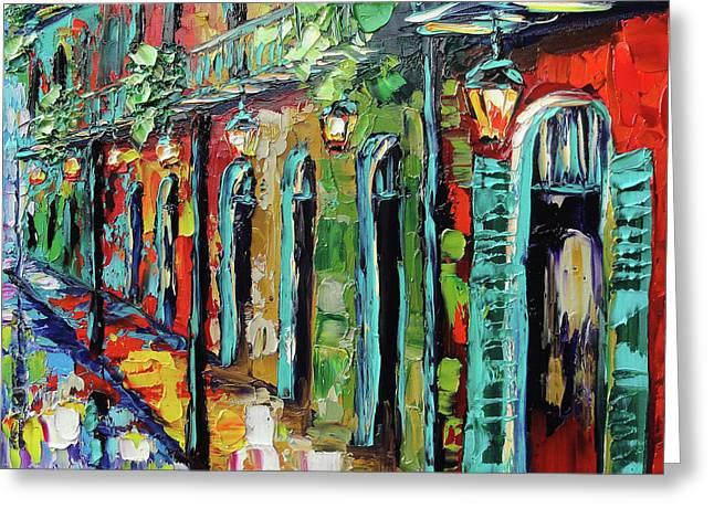 New Orleans Painting - Glowing Lanterns Greeting Card by Beata Sasik