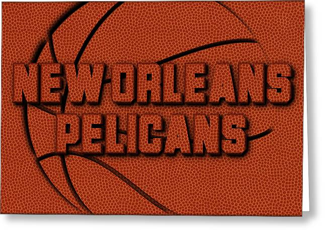 New Orleans Pelicans Leather Art Greeting Card