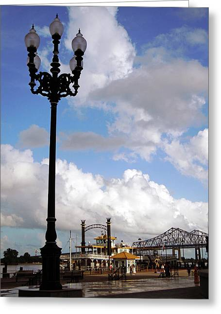 Light Pole Greeting Cards - New Orleans Riverwalk Greeting Card by Joy Tudor