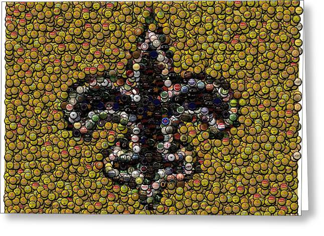 New Orleans Saints  Bottle Cap Mosaic Greeting Card