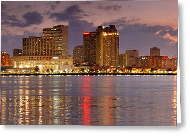 New Orleans Greeting Cards - New Orleans Skyline at DUSK Greeting Card by Jon Holiday