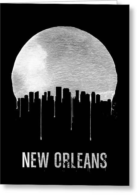 New Orleans Skyline Black Greeting Card by Naxart Studio
