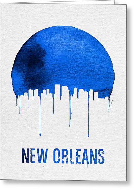 New Orleans Skyline Blue Greeting Card by Naxart Studio