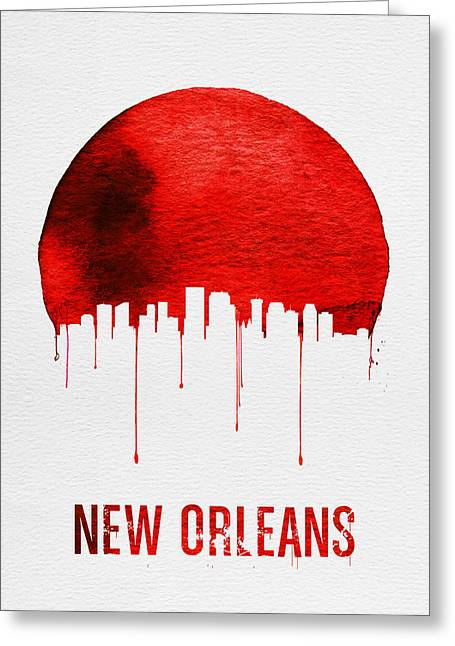 New Orleans Skyline Red Greeting Card by Naxart Studio