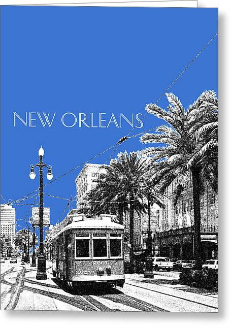 New Orleans Skyline Street Car - Blue Greeting Card