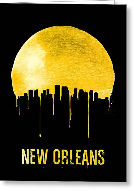 New Orleans Skyline Yellow Greeting Card by Naxart Studio